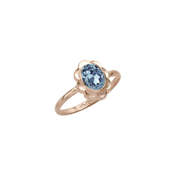 Girl's Birthstone Rings - 10K Yellow Gold Girls Synthetic Aquamarine Birthstone Ring - Size 5 1/2 - Perfect for Grade School Girls, Tweens, or Teens/
