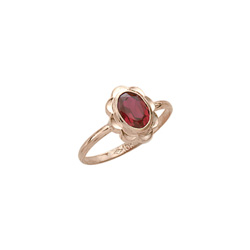 Girl's Birthstone Rings - 10K Yellow Gold Girls Synthetic Garnet Birthstone Ring - Size 5 1/2 - Perfect for Grade School Girls, Tweens, or Teens/