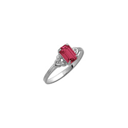 Kid's Birthstone Rings for Girls - Sterling Silver Rhodium Girls Synthetic Ruby July Birthstone Ring - Size 4 1/2 - Perfect for Grade School Girls, Tweens, or Teens/