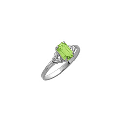 Kid's Birthstone Rings for Girls - Sterling Silver Rhodium Girls Synthetic Peridot August Birthstone Ring - Size 4 1/2 - Perfect for Grade School Girls, Tweens, or Teens/