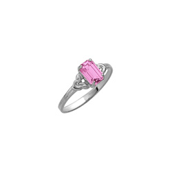 Kid's Birthstone Rings for Girls - Sterling Silver Rhodium Girls Synthetic Pink Tourmaline October Birthstone Ring - Size 4 1/2 - Perfect for Grade School Girls, Tweens, or Teens/