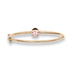 Little Girls Adorable Pink Ladybug Bangle Bracelet - 14K Yellow Gold Baby, Toddler Bangle Bracelet - Size 5.25