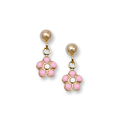 Pink Flower Dangle Earrings for Girls - 14K Yellow Gold Screw Back Earrings for Girls/