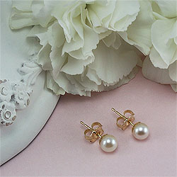Bridal Party Gifts by Elegant Heirlooms™ - 14k Yellow Gold Premier Akoya Cultured Pearl Earrings (5.0 - 5.5mm pearl) - Tween, Teen, Adult Pearl Earrings - Buy 5 Get 1 Free/