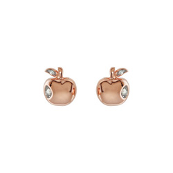 Little Girls Rose Gold Diamond Apple Earrings - 14k White and Rose Gold - Push Back Posts/