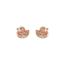 Little Girls Rose Gold Diamond Duck Earrings - 14K White and Rose Gold - Push Back Posts/