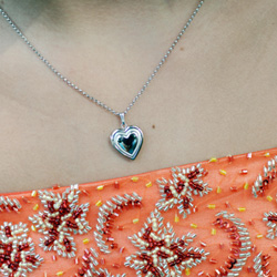 Elegant Embossed 15mm Heart Photo Locket for Girls - Sterling Silver Rhodium - Engravable on front and back - Includes a 14