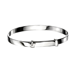 Engravable Diamond Star Baby Bangle Bracelet for Girls - Sterling Silver - Adjustable Star Bangle Bracelet - Baby, Toddler /