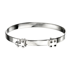 Engravable Diamond Train Baby Bangle Bracelet for Boys and Girls - Sterling Silver - Adjustable Train Bangle Bracelet - Baby, Toddler /