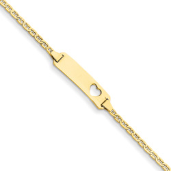 Adorable Heart - 14K Yellow Gold Personalized Teen, Adult ID Bracelet - Anchor Link - Size 7