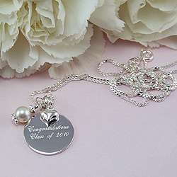 Graduation Keepsakes™ - Sterling Silver Engravable Birthstone Necklace - Engravable on the front and back - Add a birthstone to personalize