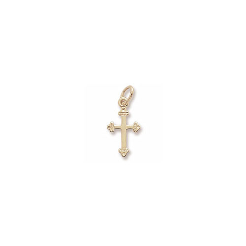 BeadifulBABY :: Fancy Tiny Cross Charm/Pendant ? in 10k Yellow, 14k Yellow, ...