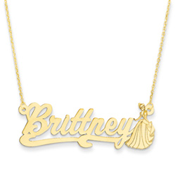 Disney Cinderella 14K Yellow Gold Name Necklace - Nameplate and 14