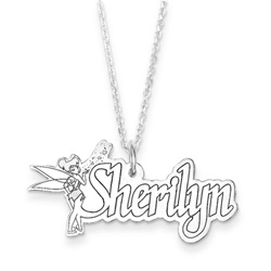 Disney Tinker Bell 14K White Gold Name Necklace - Nameplate and 14