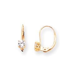 April Birthstone - Genuine White Zircon 4mm Gemstone - 14K Yellow Gold Leverback Earrings/