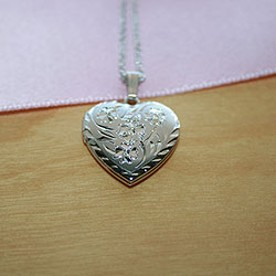 Gorgeous Hand Engraved 19mm Floral Heart Photo Locket for Girls - Sterling Silver Rhodium - Engravable on back - Includes a 14