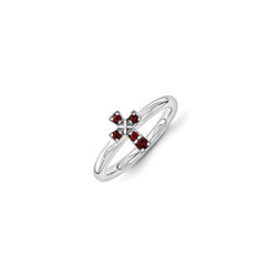 Girls Birthstone Cross Ring - Genuine Garnet Birthstone - Sterling Silver Rhodium - Size 5 - BEST SELLER/
