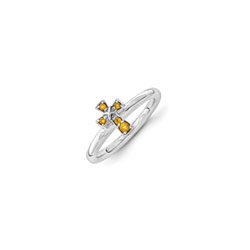 Girls Birthstone Cross Ring - Genuine Citrine Birthstone - Sterling Silver Rhodium - Size 5 - BEST SELLER/