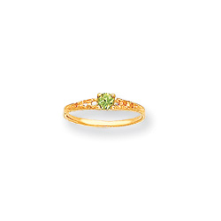 August Birthstone - Genuine Peridot 3mm Gemstone - 14K Yellow Gold Baby/Toddler Birthstone Ring - Size 3/