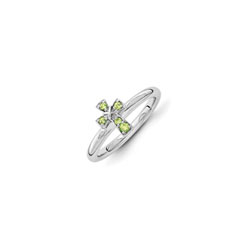 Girls Birthstone Cross Ring - Genuine Peridot Birthstone - Sterling Silver Rhodium - Size 6/