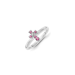 Girls Birthstone Cross Ring - Genuine Pink Tourmaline Birthstone - Sterling Silver Rhodium - Size 6/