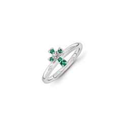 Girls Birthstone Cross Ring - Created Emerald Birthstone - Sterling Silver Rhodium - Size 7/