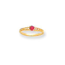 July Birthstone - Genuine Ruby 3mm Gemstone - 14K Yellow Gold Baby/Toddler Birthstone Ring - Size 3/