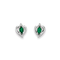 Girls Birthstone Heart Earrings - Genuine Diamond & Created Emerald Birthstone - Sterling Silver Rhodium - Push-back posts/