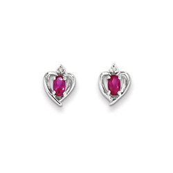 Girls Birthstone Heart Earrings - Genuine Diamond & Created Ruby Birthstone - Sterling Silver Rhodium - Push-back posts/