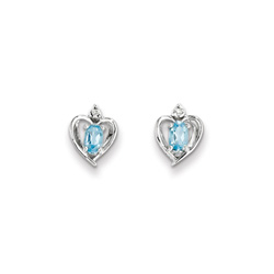 Girls Birthstone Heart Earrings - Genuine Diamond & Blue Topaz Birthstone - Sterling Silver Rhodium - Push-back posts/