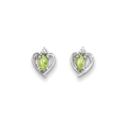 Girls Birthstone Heart Earrings - Genuine Diamond & Peridot Birthstone - 14K White Gold - Push-back posts/