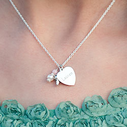 Love You! by Adorable Engravables® - Build Your Own Custom Personalized Heart Birthstone Necklace - Sterling Silver Rhodium - with exclusive Grow-With-Me™ Chain/