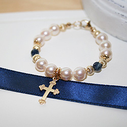 Christened with Love, Blessed in Faith™ by My First Pearls® – 14K yellow gold – Grow-With-Me® designer original freshwater cultured pearl bracelet – Personalize with gemstones & charms /