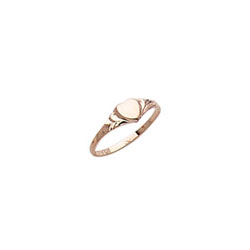 Engravable Baby Heart Signet Ring - 10K Yellow Gold Signet Ring for Baby - Size 2/