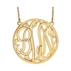 Large 40mm Round Script Monogram Pendant Necklace - 14K Yellow Gold - Chain included - Special Order/