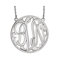 Large 40mm Round Script Monogram Pendant Necklace - Sterling Silver Rhodium - Chain included - Special Order/