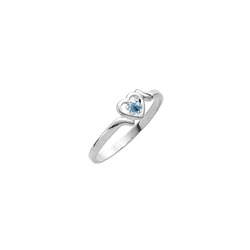 Sweetheart Birthstone Ring - March Birthstone - Genuine Aquamarine - 14K White Gold - Size 4½ Child Ring - BEST SELLER/