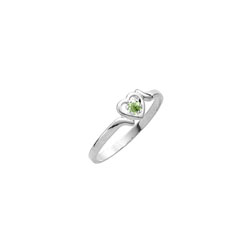 Sweetheart Birthstone Ring - August Birthstone - Genuine Peridot - 14K White Gold - Size 4½ Child Ring/