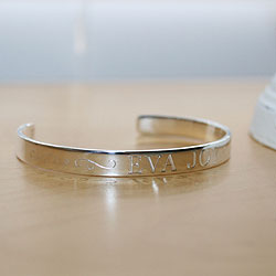 Eva Joy - Sterling Silver Engravable Girls Cuff Bracelet - Size 5