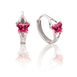 Baby Sterling Silver Rhodium July Ruby (Cubic Zirconia) C.Z. Tiny Butterfly Huggie Hoop Earrings for Baby, Toddler, and Grade School Girls - BEST SELLER/