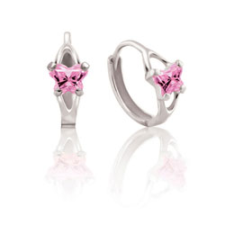 Baby Sterling Silver Rhodium October Pink Tourmaline (Cubic Zirconia) C.Z. Tiny Butterfly Huggie Hoop Earrings for Baby, Toddler, and Grade School Girls - BEST SELLER/