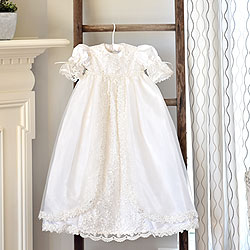 Charlotte Avery - Handmade Heirloom Dupioni Silk Pearl Sequin Christening Gown with Matching Christening Bonnet Set - Size Newborn (0 - 3 months) - BEST SELLING Baptism Dress/