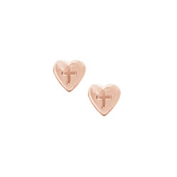 Rose Gold Heart Cross Earrings for Girls - 14K Rose Gold Screw Back Earrings for Baby, Toddler, Child/