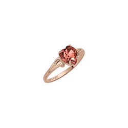 Little Girl's Heart Birthstone Ring - January Birthstone - Synthetic Garnet - 10K Yellow Gold - Size 4½ Child Ring - BEST SELLER/