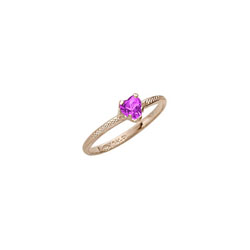 Beautiful Girl's Heart Birthstone Ring - February Birthstone - Synthetic Amethyst - 10K Yellow Gold - Size 3½ Child Ring - BEST SELLER /
