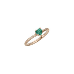 Beautiful Girl's Heart Birthstone Ring - May Birthstone - Synthetic Emerald - 10K Yellow Gold - Size 3½ Child Ring - BEST SELLER /