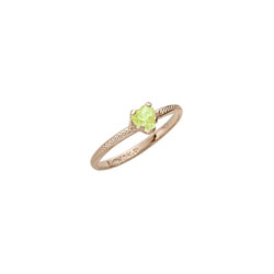 Beautiful Girl's Heart Birthstone Ring - August Birthstone - Synthetic Peridot - 10K Yellow Gold - Size 3½ Child Ring - BEST SELLER /