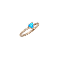 Beautiful Girl's Heart Birthstone Ring - December Birthstone - Synthetic Blue Zircon - 10K Yellow Gold - Size 3½ Child Ring - BEST SELLER /