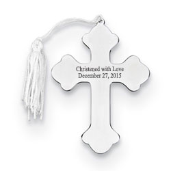 Silver Cross Personalized Christmas Ornament - Nickel-Plated - Engravable on front and back - BEST SELLER/