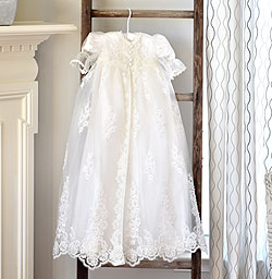 Olivia Harper - Handmade Heirloom Dupioni Silk Pearl and Sequin Christening Gown with Matching Christening Bonnet Set - Size S (6 - 9 months)/